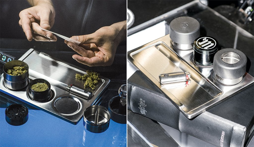 Davis Kiyo wanted to make an upmarket storage container for pot smokers. His invention: the magnetic Stashtray.