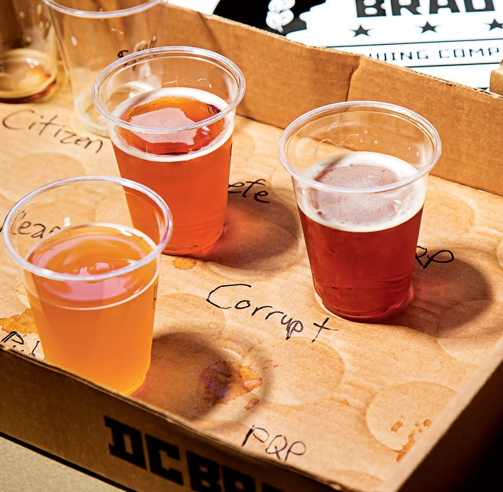A sampling of pale ales and IPAs at DC Brau. Photograph by Scott Suchman.