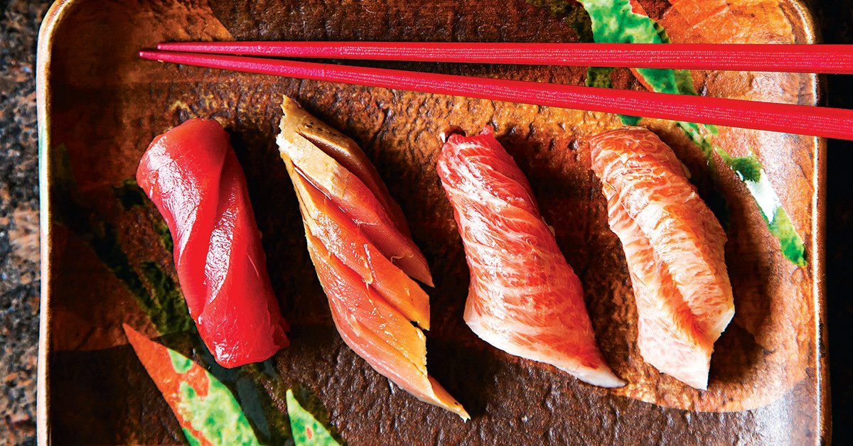 Four cuts of tuna with varying degrees of fattiness. Photograph by Scott Suchman.