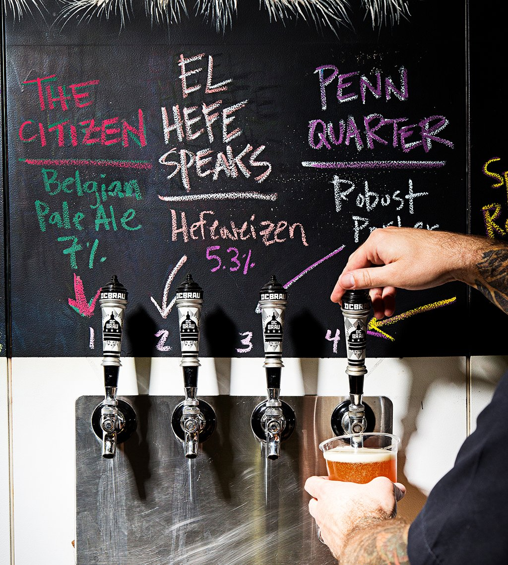 Beer names. Taps at DC Brau. Photograph by Scott Suchman.