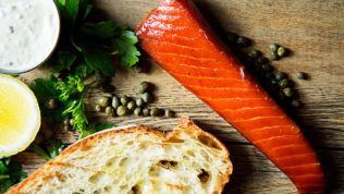 """The Tavern at Ivy City Smokehouse. Sugar-cured salmon """"candy."""" Photograph by Scott Suchman."""