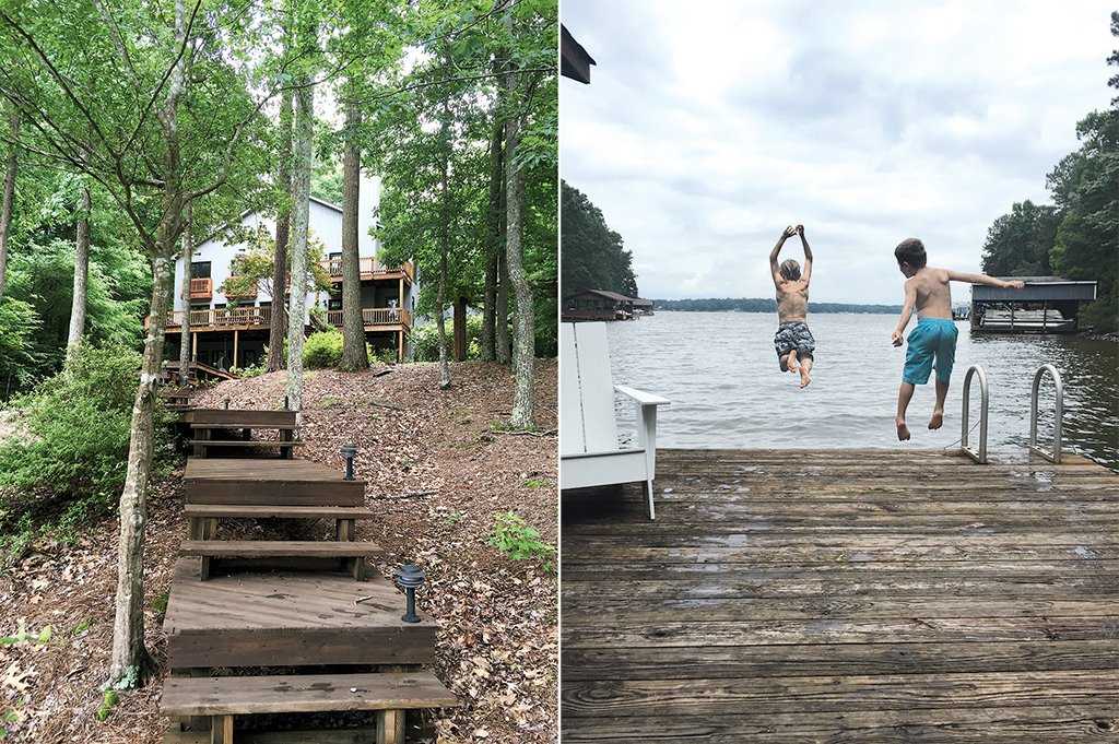"Outside, stairs lead to a private dock, which Liess says her sons ""spend hours leaping off every day."" Photographs courtesy of Lauren Liess."