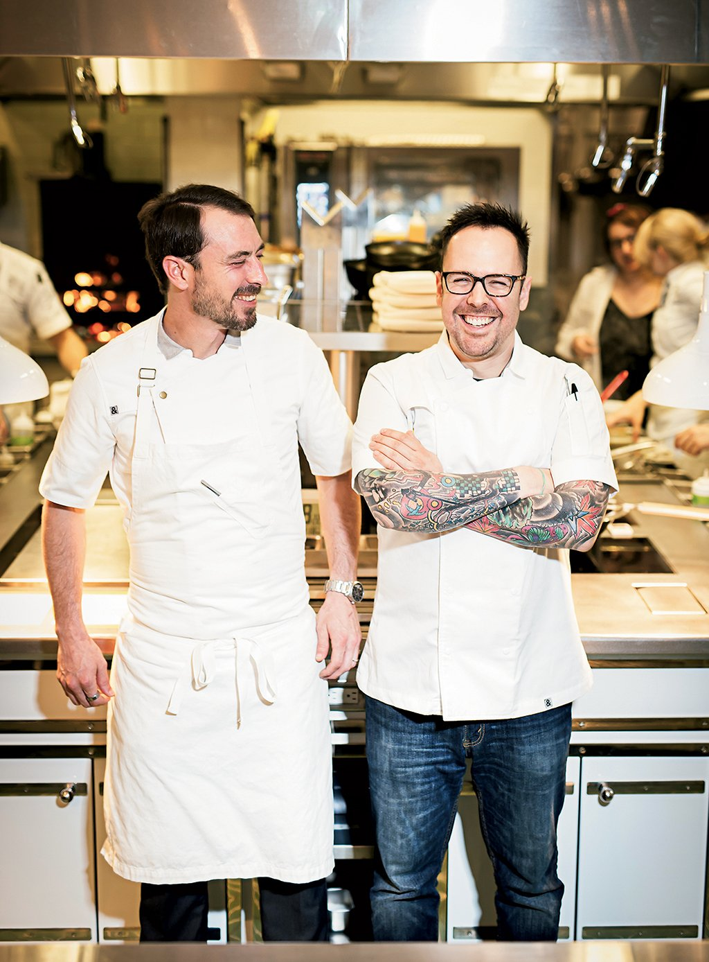 Chef/owner Aaron Silverman (right) and head chef Scott Muns turn out daring dishes, followed by plates that register as pure comfort. Photograph by Scott Suchman.