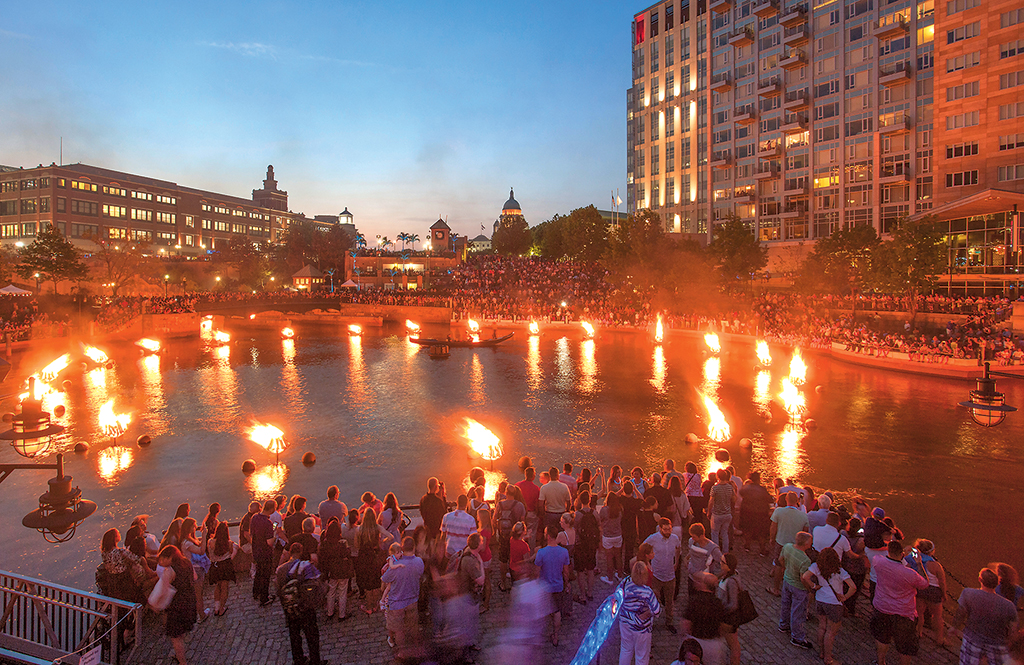 May through November, the Providence River hosts one of the city's biggest events, WaterFire. Photograph by Erin Cuddigan/WaterFire Providence.