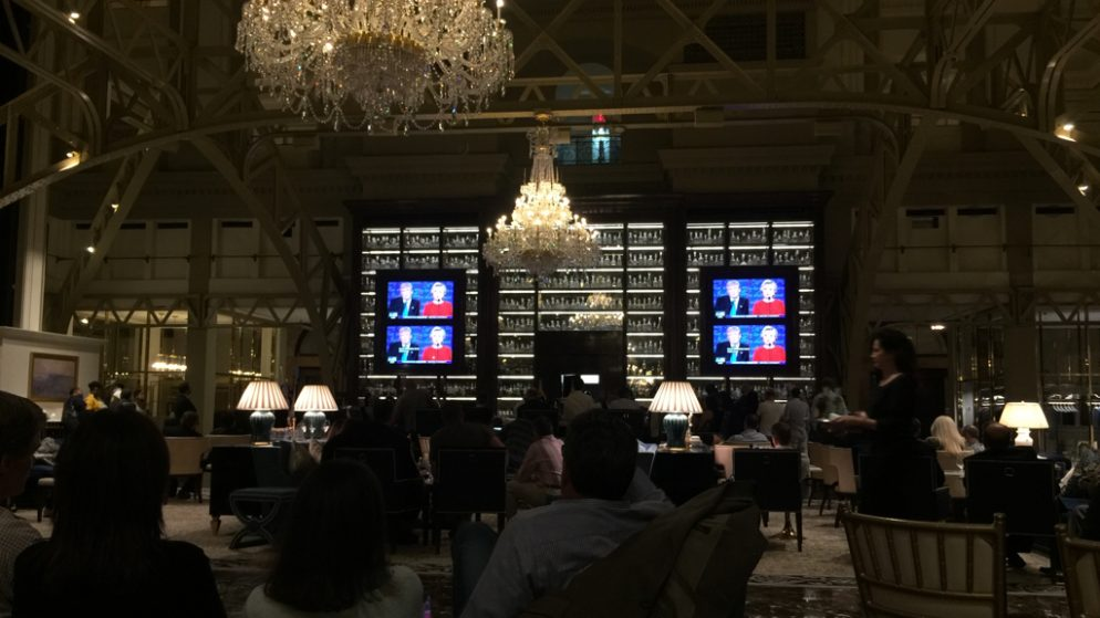 Hillary Clinton Supporters Had a Good Time Watching the Debate at Trump's DC Hotel