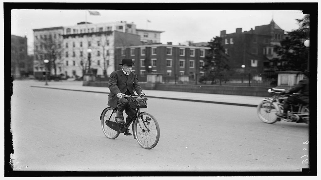 72-year old US Dimplomat Alvey Augustus Adee, Second Assistant Secretary of State, riding his bike to work. Photograph by M. Neubert\ via Library of Congress