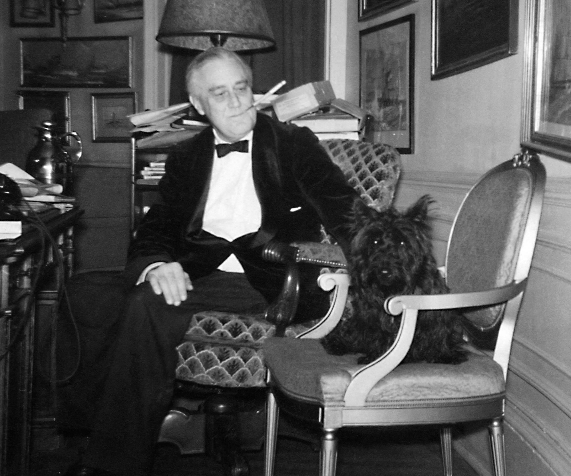 FDR and Fala in the White House Study December of 1941. Photograph taken by an employee of the Executive Office of the President of the United States.