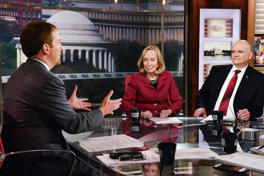 VOTER CITY MADMAN: Fournier, with Chuck Todd and Doris Kearns Goodwin, is crazy about his Detroit hometown, while DC makes him nuts. Photograph by NBC Universal Media.