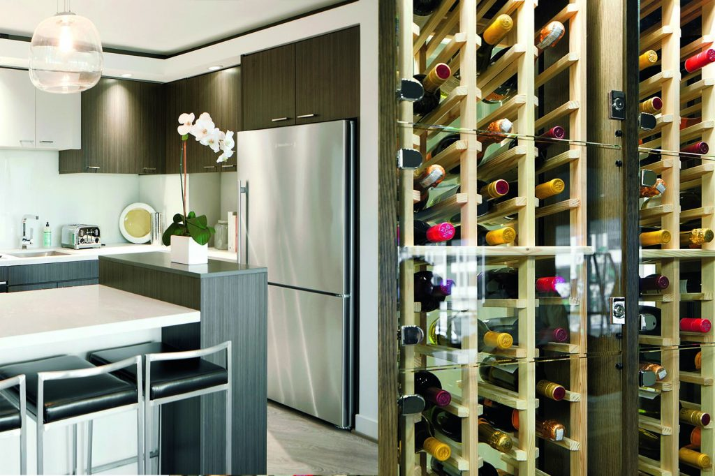 If residents can't fit their wine collections in their own kitchens, they can reserve one of the Hepburn's climate-controlled wine lockers.
