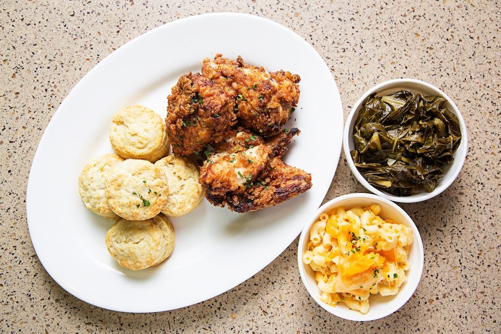 Classic buttermilk-fried chicken with collard greens and mac n' cheese.