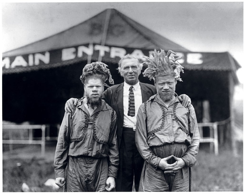 George and Willie in the only known picture of them with on of their captors, showman AI G. Barnes.