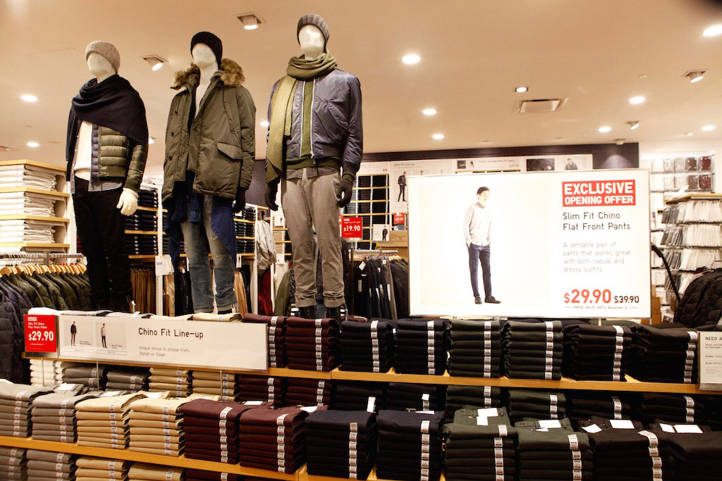 Wear-to-work chinos on sale for the opening of the store.