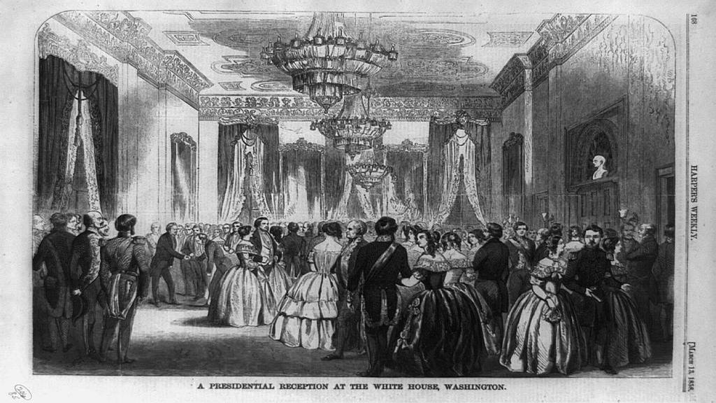 1858 Presidential Reception at the White House. Illustration by Harper's Weekly; March 13, 1858.