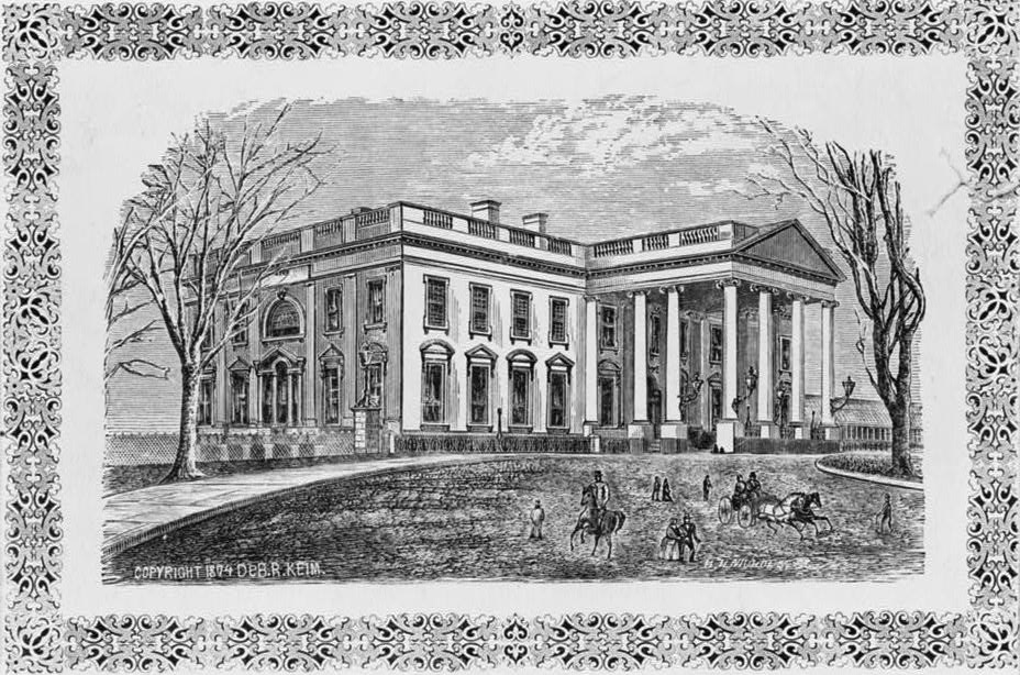 Exterior of the White House as seen in 1874. Wood engraving by DeB. R. Keim.