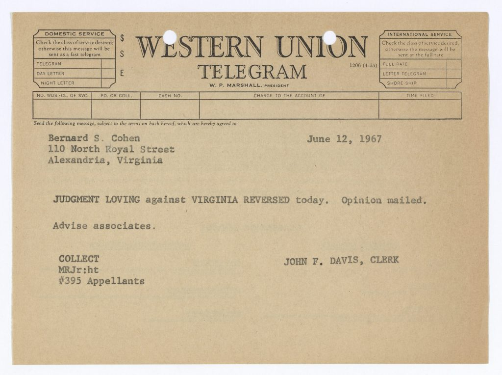 The telegram that the Supreme Court's chief clerk sent to the Lovings' lawyer, announcing the ruling. Photo by National Archives.