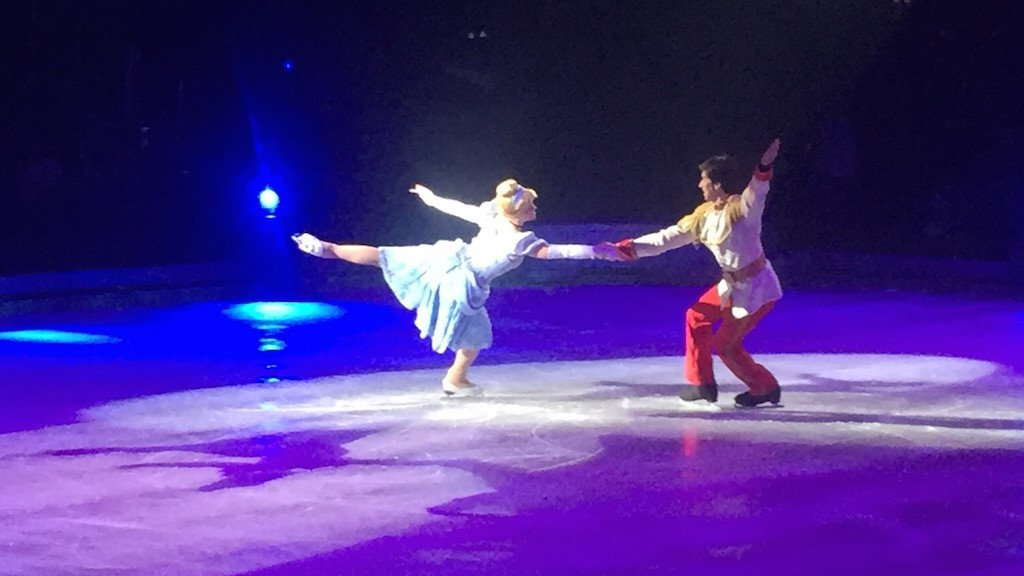 Disney on Ice's Cinderella and Prince Charming skated by couple Sara Buck-Lalonde and Sacha Lalonde.