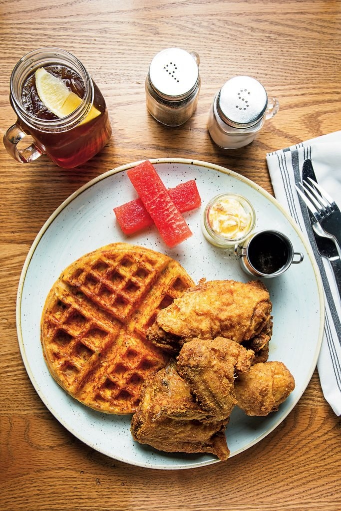 Fried chicken and waffles at Hen Quarter. Photo by Scott Suchman.