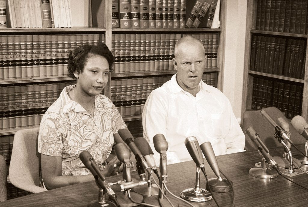 Mildred Jeter and Richard Loving wed in 1958. But it was nine years—and a Supreme Court case—before Virginia recognized their marriage. Here, the normally press-shy couple meets reporters in 1967, after the legal fight has ended. Photograph by LIFE Picture Collection/Getty Images.