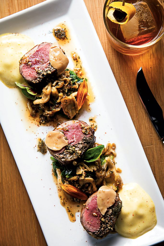 Mushroom-stuffed lamb with foie-gras béarnaise at Live Oak. Photo by Scott Suchman.