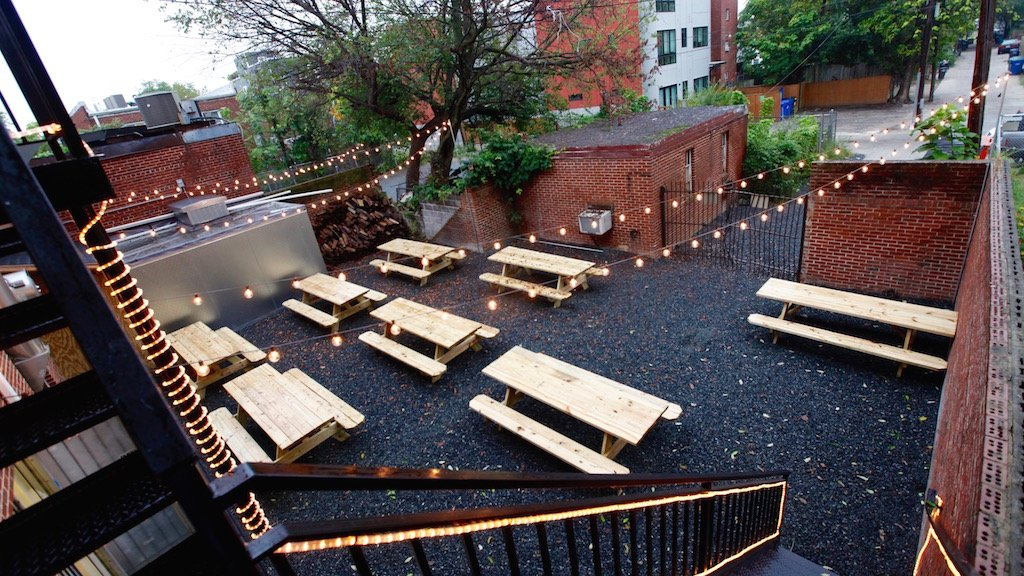 Union Drinkery's back patio will eventually host luaus and pig roasts. Photograph by Evy Mages.