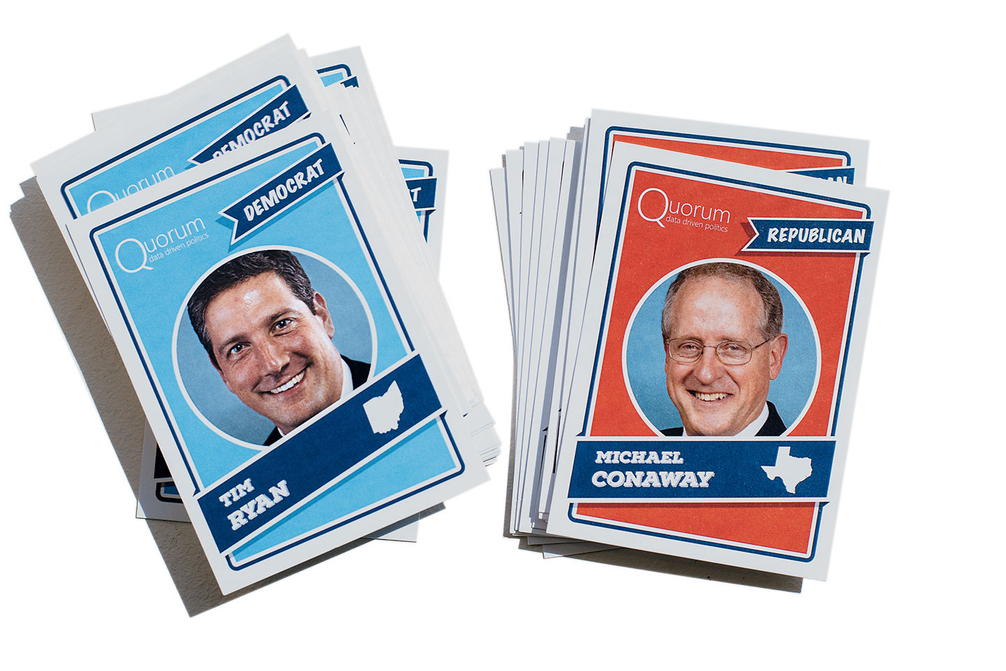 Baseball cards, printed with members' lawmaking stats, that the company gave out at the Congressional Baseball Game.