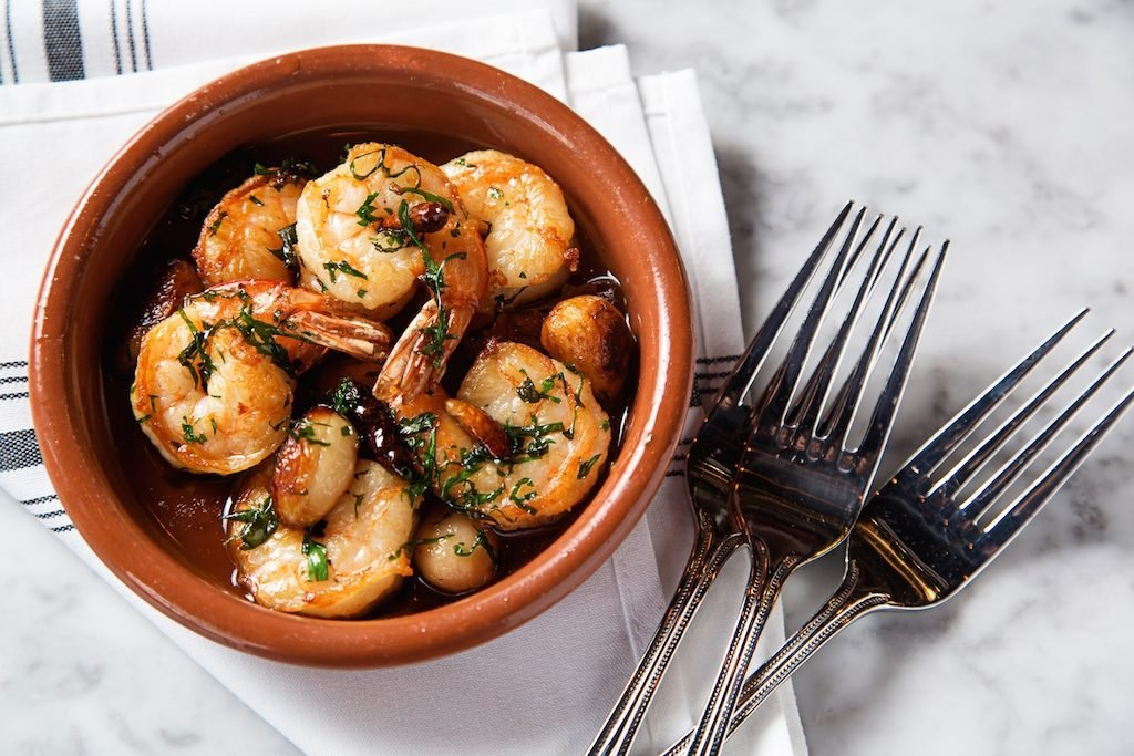 Shrimp with garlic and chilies. Photo by Scott Suchman.