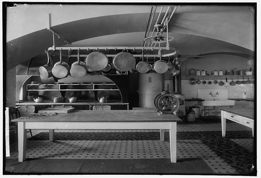 White House Kitchen between 1905 and 1945. Photograph by Harris & Ewing.