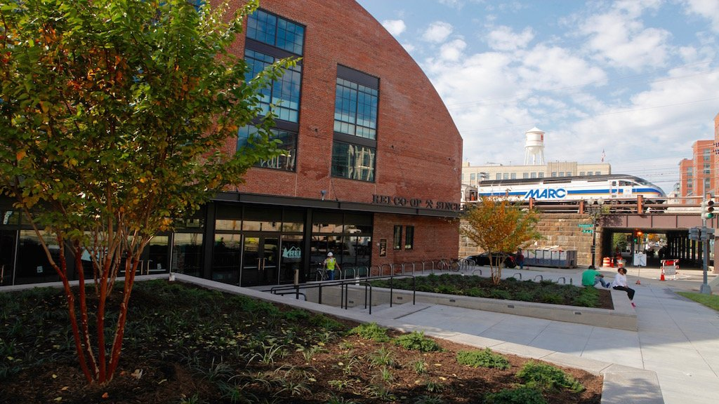 The REI flagship, next to the NoMa Metro station, opens Friday. Unless otherwise noted, photos by Evy Mages.
