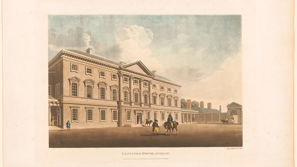 Lenister House in Dublin, the basis for the design of the White House. Print by James Malton.