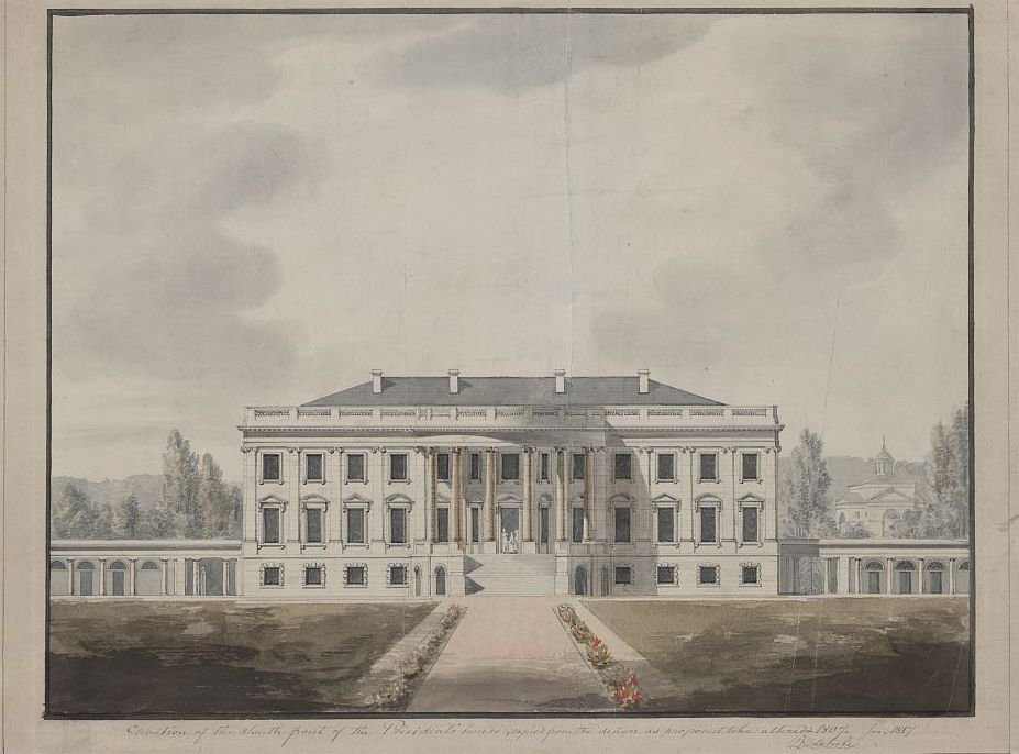South Portico of White House in 1817 as designed by architect, Benjamin Henry Latrobe. Drawing by Benjamin Henry Latrobe.