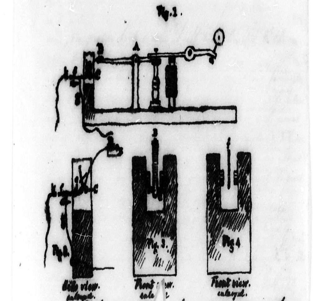 Original drawing of telegraph machine by Samuel Morse in 1854. Photo by Samuel Finley Breese Morse.