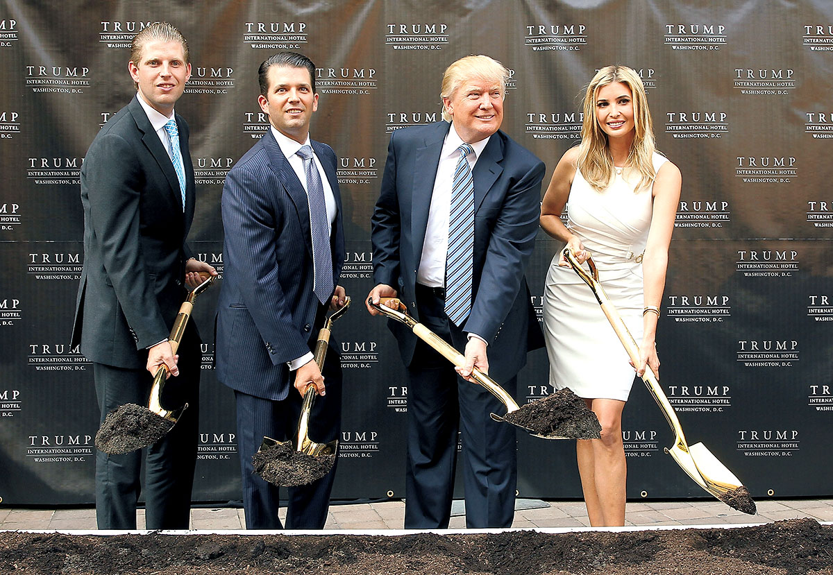 Eric Trump, Donald Trump Jr., Donald Trump, and Ivanka Trump at the hotel's groundbreaking. Photo by Getty Images.