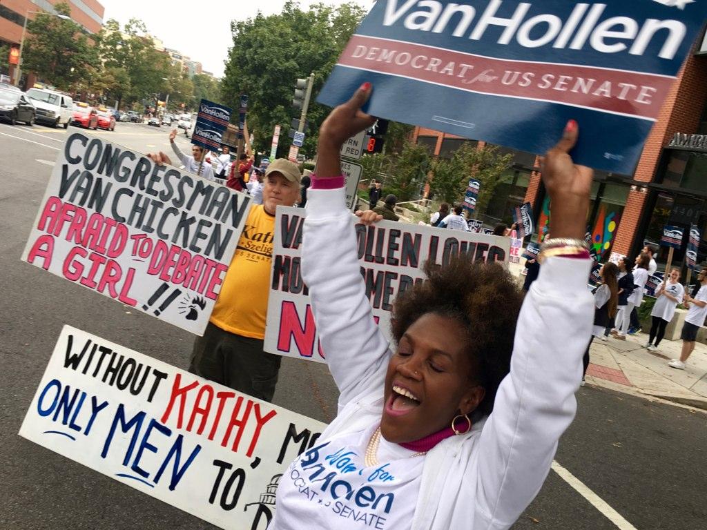 PHOTOS: Outside the Chris Van Hollen–Kathy Szeliga Debate at WAMU
