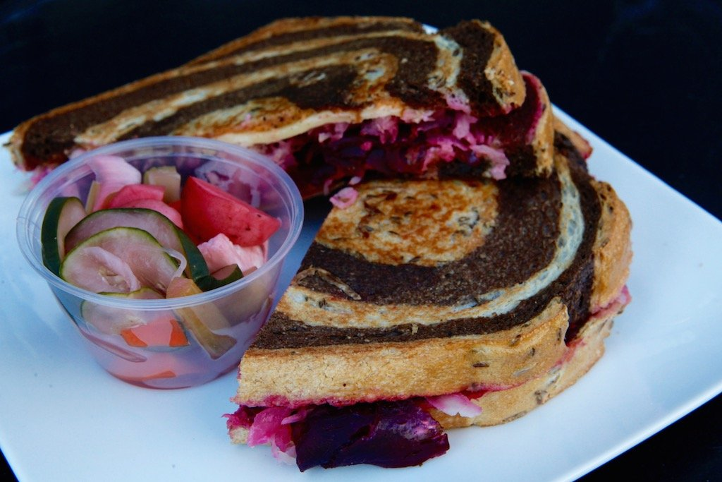The smoked beet Reuben, a spin on the classic with gouda cheese, kraut, and smoky Russian dressing.