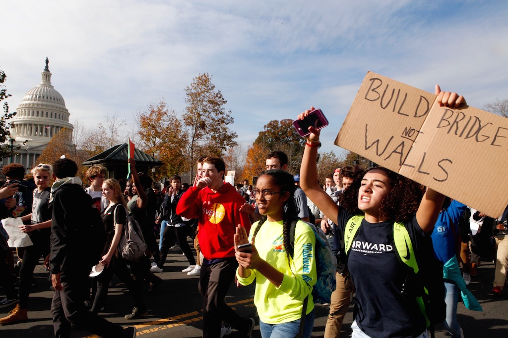 Photos and Videos: DC Kids Walked Out of School to Protest Trump's Election