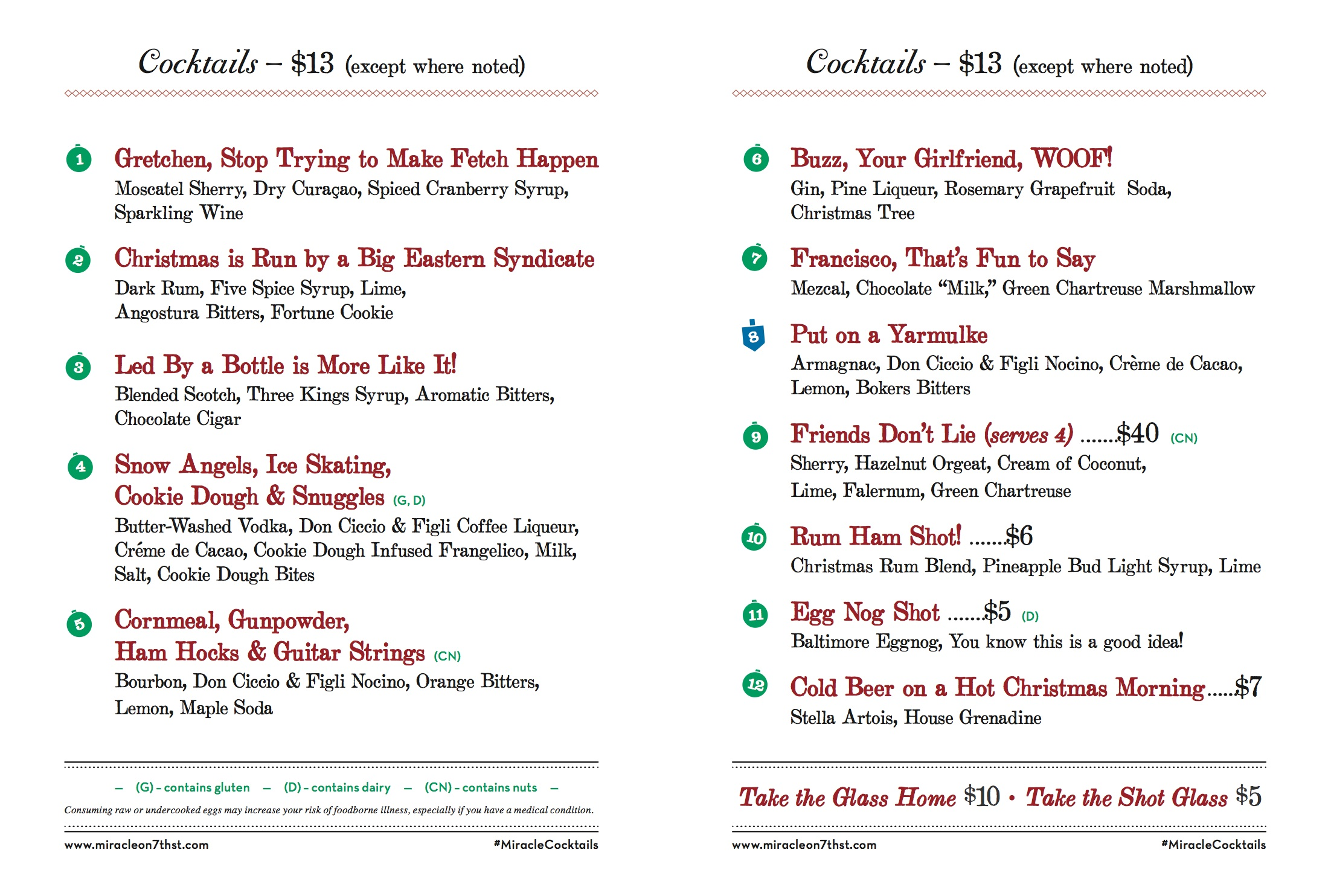 The cocktail menu for Miracle on Seventh Street, courtesy of the Christmas Bar.