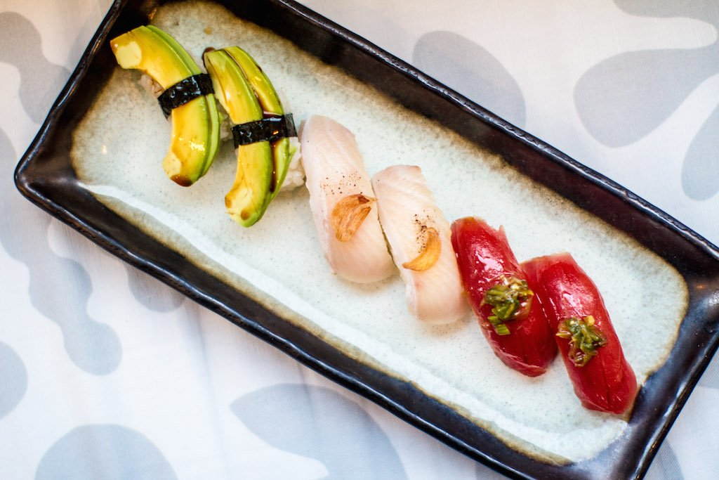 Nigiri are fashioned out of fish flown in from Japan, or vegetarian-friendly produce. All are brushed with a house soy mixture.