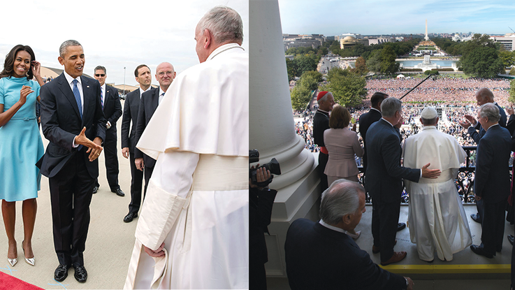 Photographs of Pope on Mall by Getty Images. Photographs of Obamas With Pope by Pete Souza/White House.