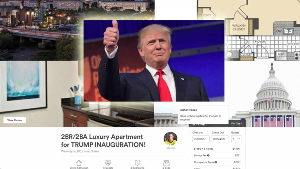 Washingtonians Are Already Renting Out Their Houses on Airbnb for Trump's Inauguration