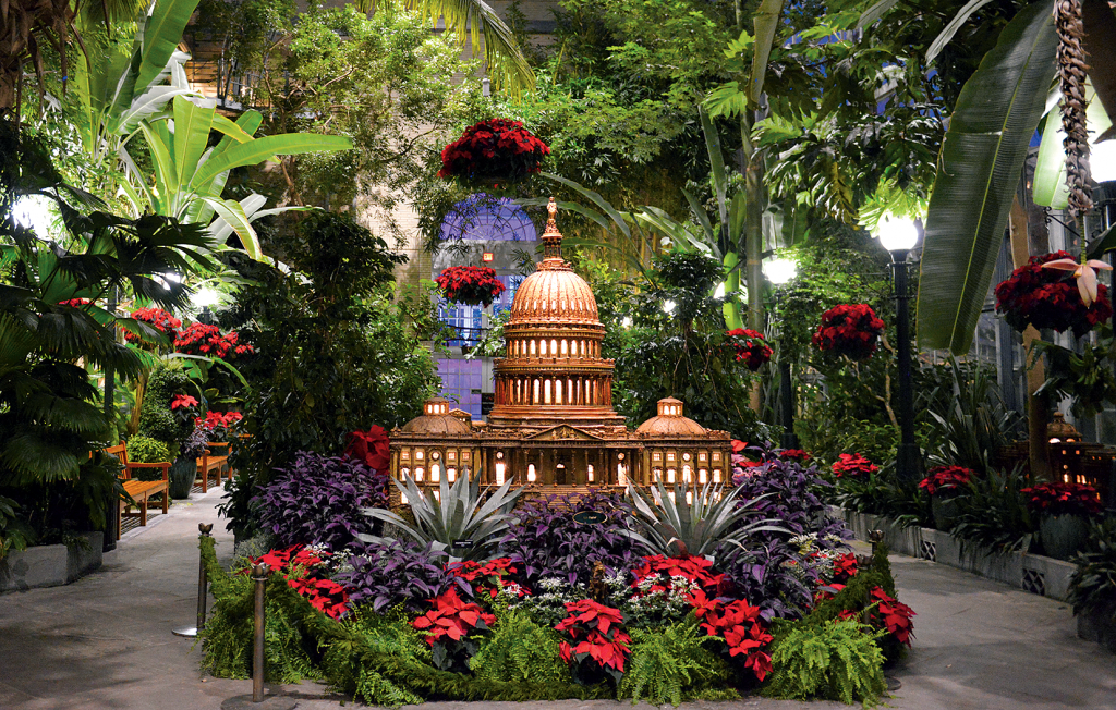 Green house: The US Botanic Garden's holiday display is always impressive. This year, visitors can see recreations of the Statue of Liberty, Mount Vernon, and other national treasures. Photograph courtesy of US Botanic Garden
