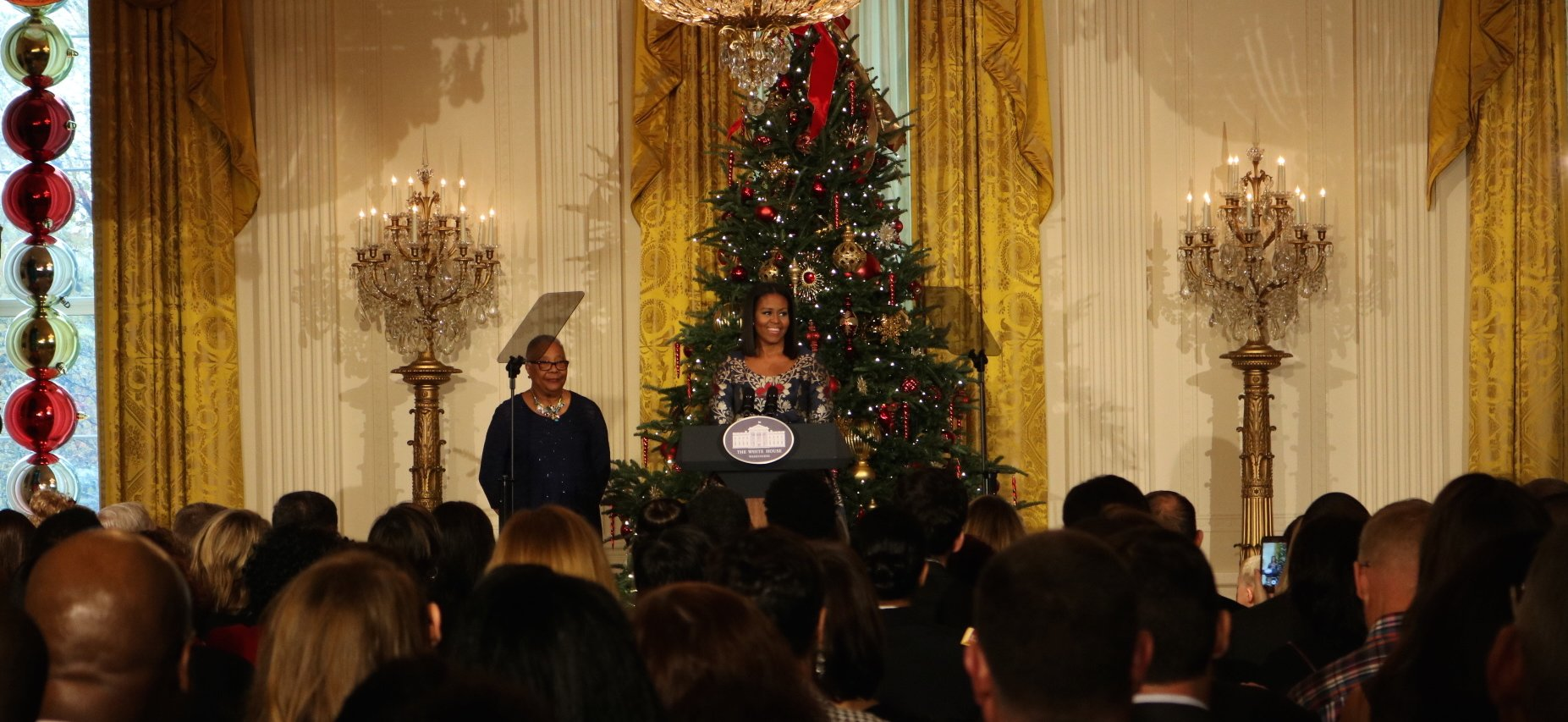 First Lady Michelle Obama speaks to Veterans and their families at the White House Christmas 2016. Photo by Sydney MaHan.