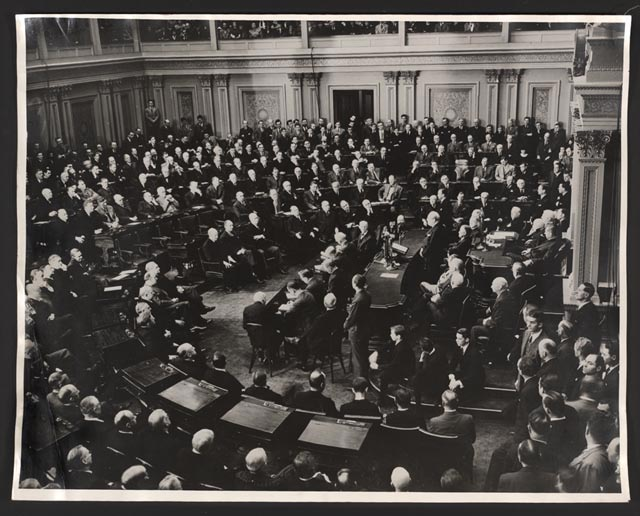 Winston Churchill addresses Congress on December 26, 1941. Photo via Library of Congress.