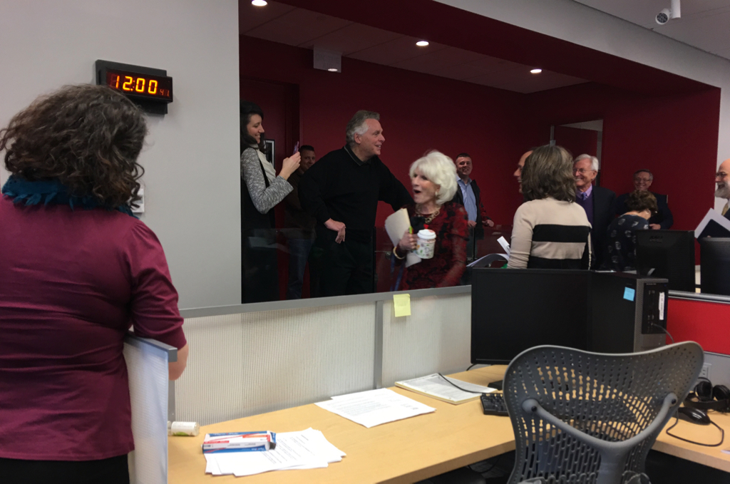 Rehm leaves the studio at noon as Virginia Governor Terry McAuliffe and Richmond, Virginia, Mayor-elect Levar Stoney get ready to go on the Kojo Nnamdi Show.