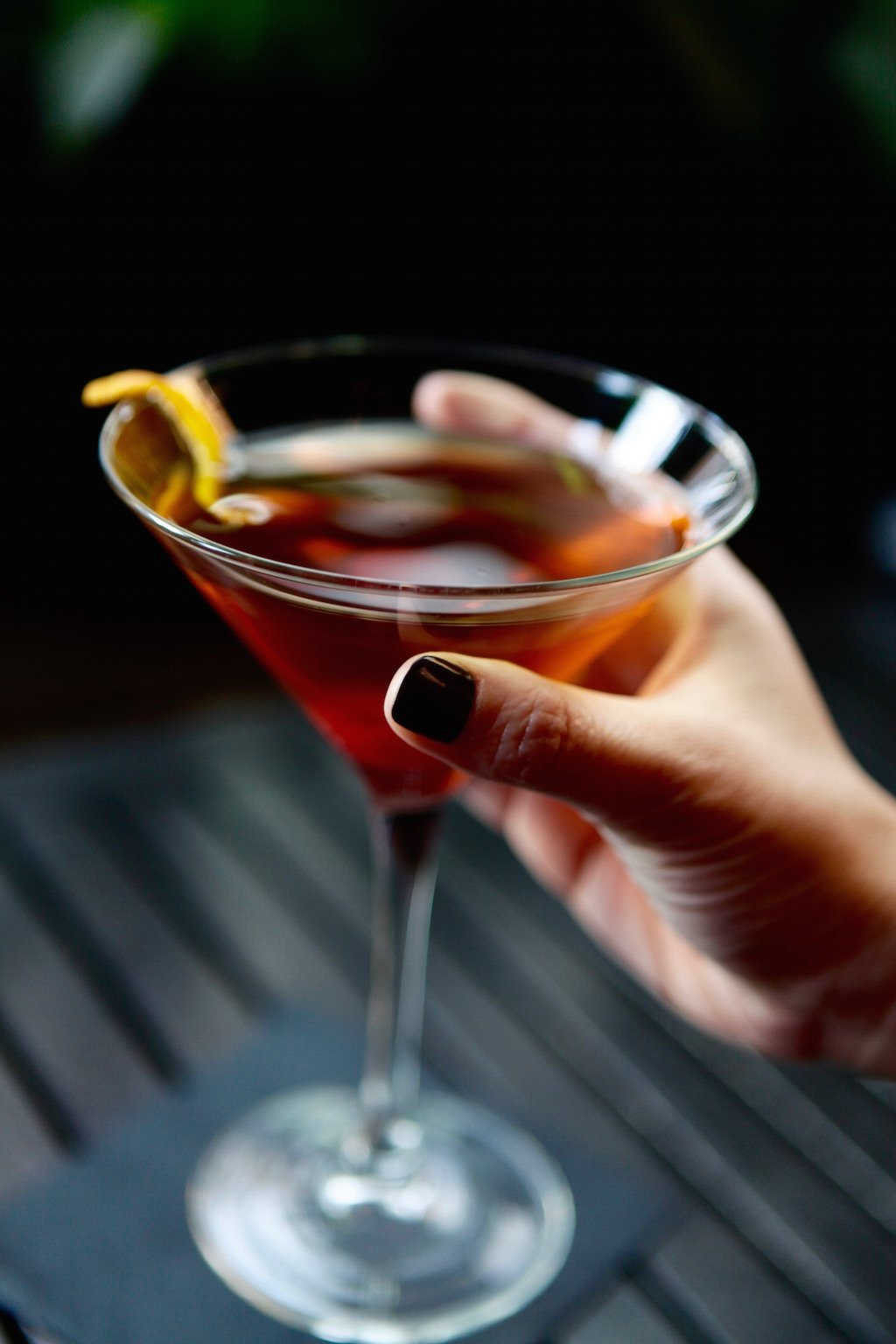 Drinks are designed to be comparatively cheap, like this Mekhong whiskey Manhattan for $10.