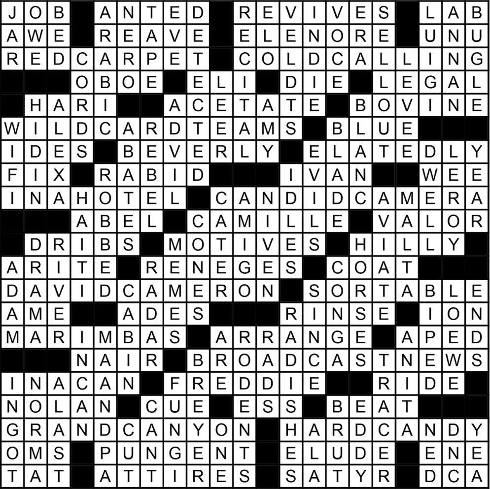 November 2016 Crossword Answer Key