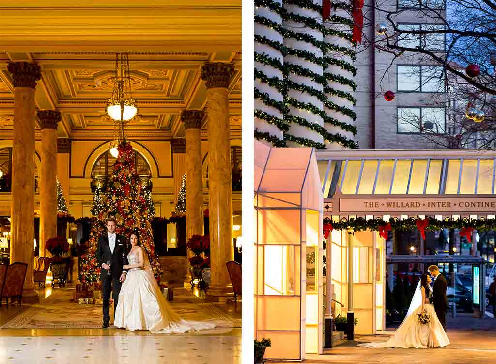 This Christmas-Themed Wedding at the Willard Is Guaranteed to Put You In the Holiday Spirit
