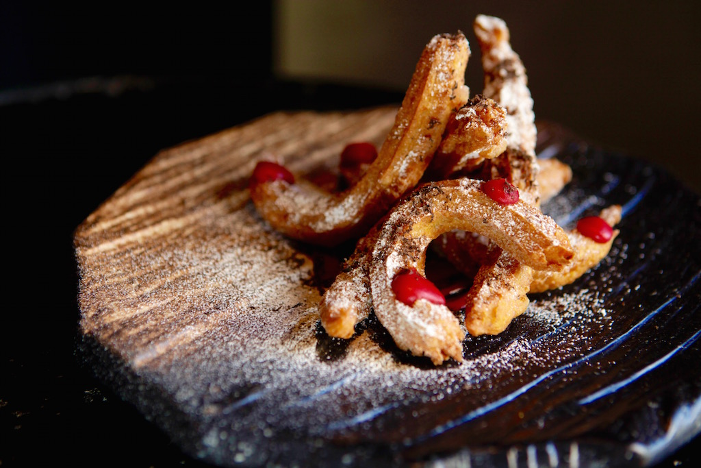 Savory churros are made with butternut squash, truffle, and cranberry mustard.