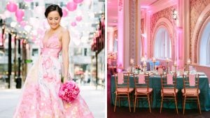 A Pink Gown, Arcade Games, and Fried Chicken Make this Ball Room Wedding So Much Fun