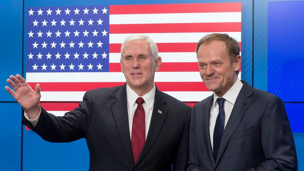 EU Greets Vice President Pence With 51-Star American Flag