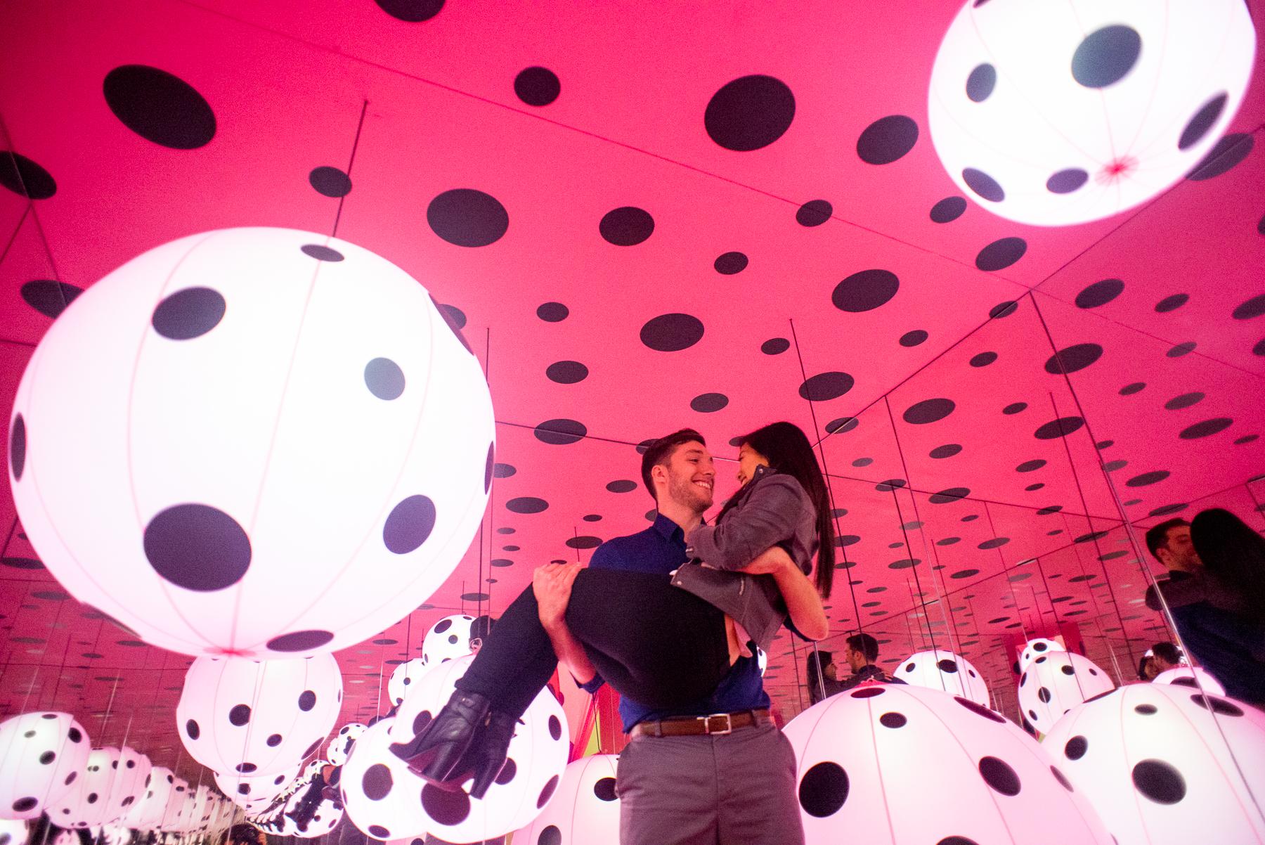 AJ Jan Yayoi Kusama Infinity Mirrors Proposal Engagement Photoshoot